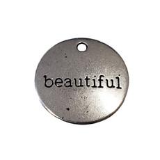 Round Beautiful Word Charm 19mm