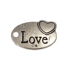 Oval Love Word Charm 25x11mm