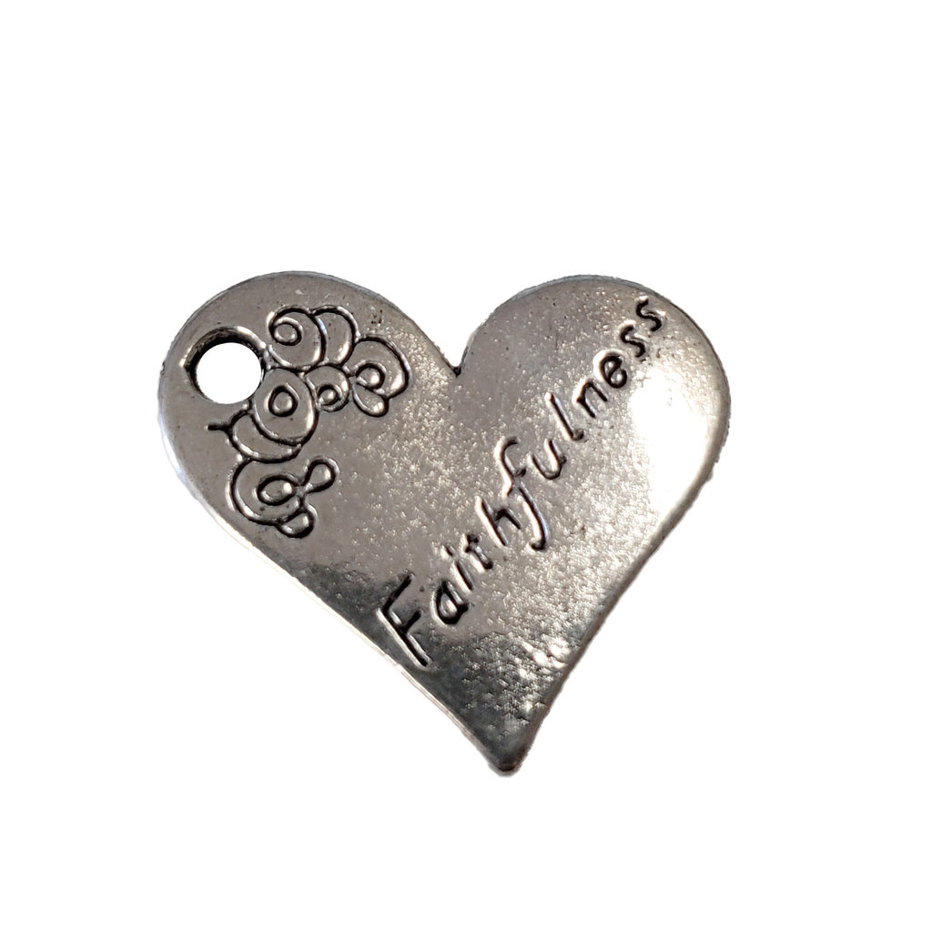 Heart Faithfulness Word Charm 21x19mm