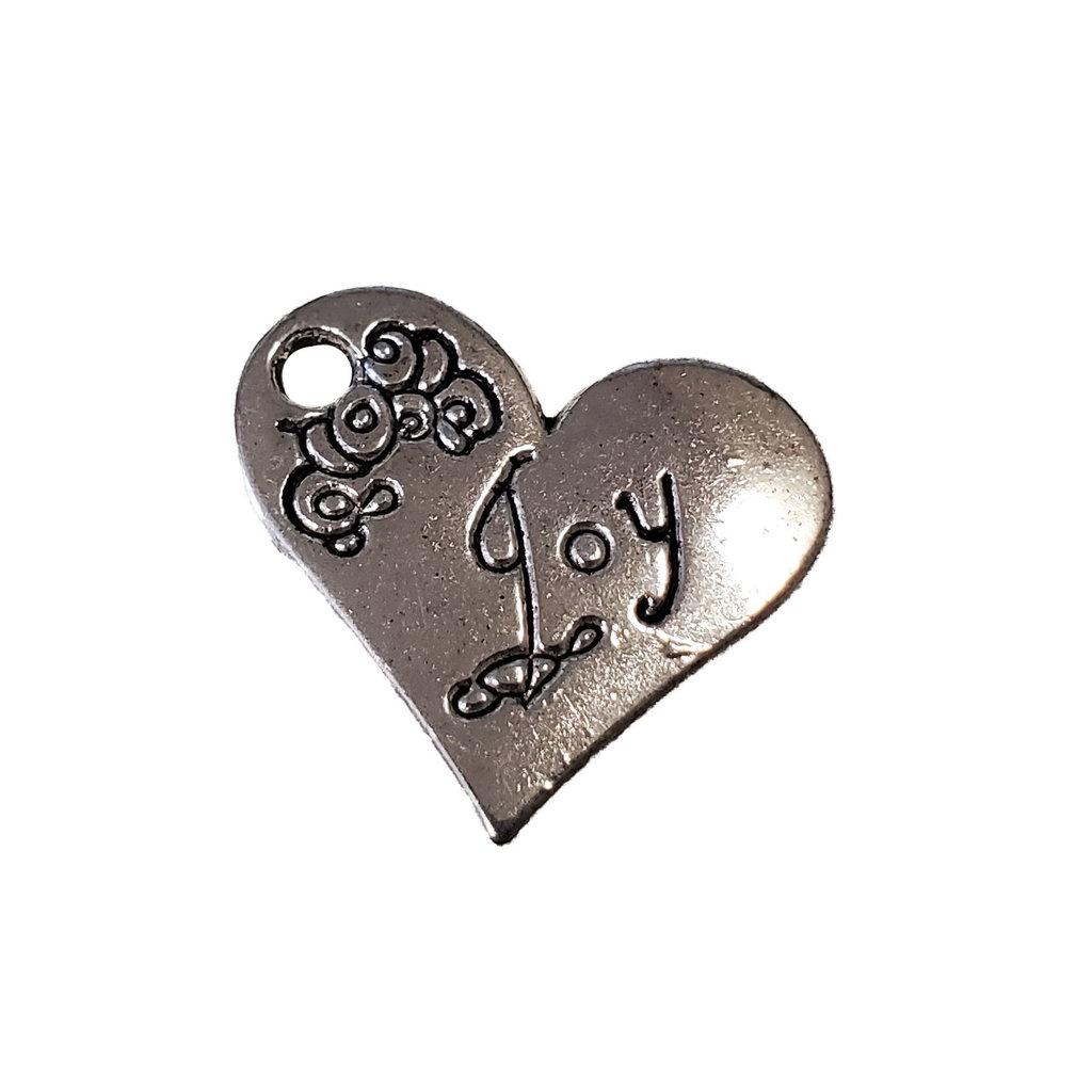 Heart  Joy Word Charm 21x19mm