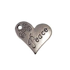 Heart Peace Word Charm 21x19mm