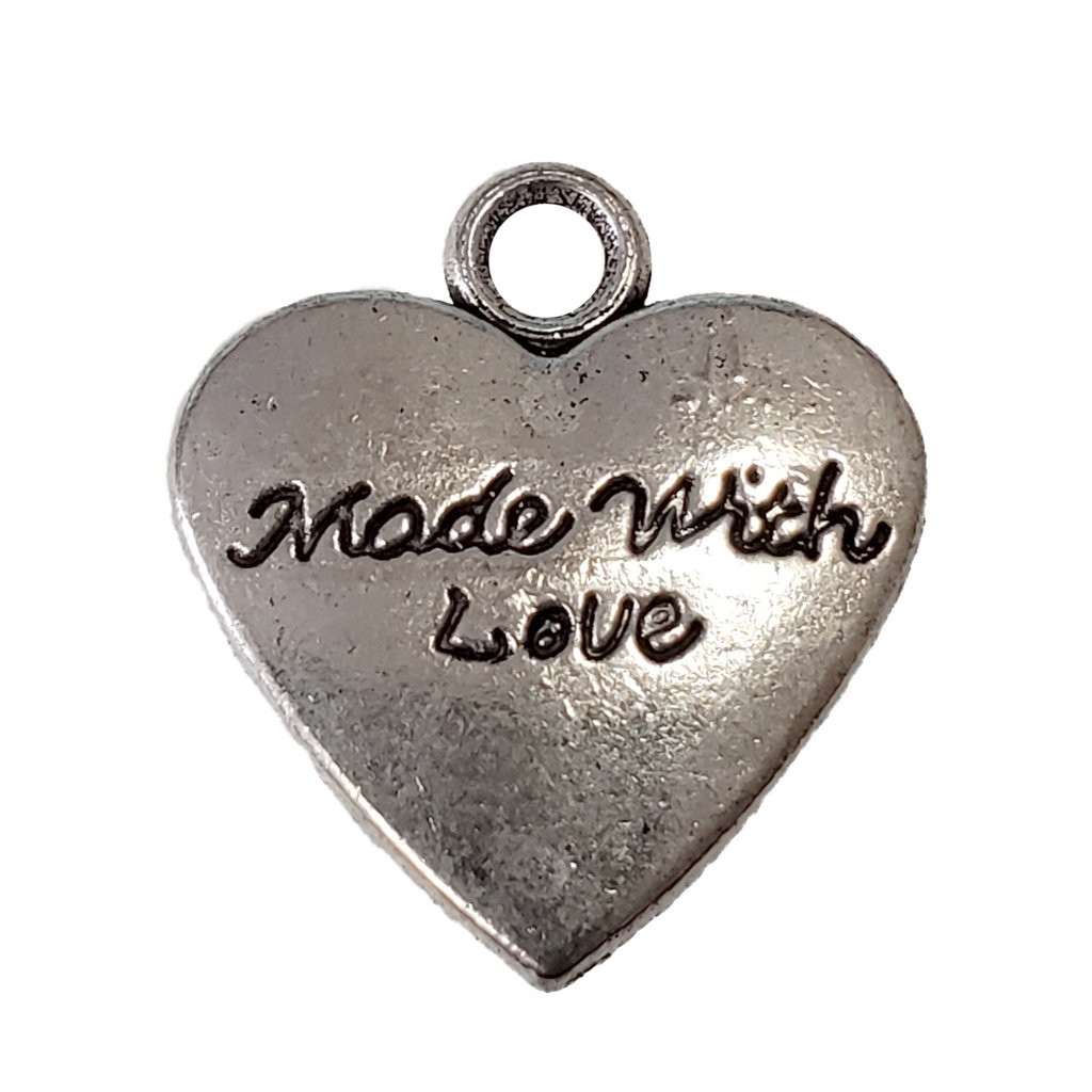Heart Made with Love Word Charm 17x19mm