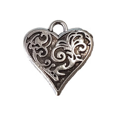Heart with Swirl Charm 15x16mm