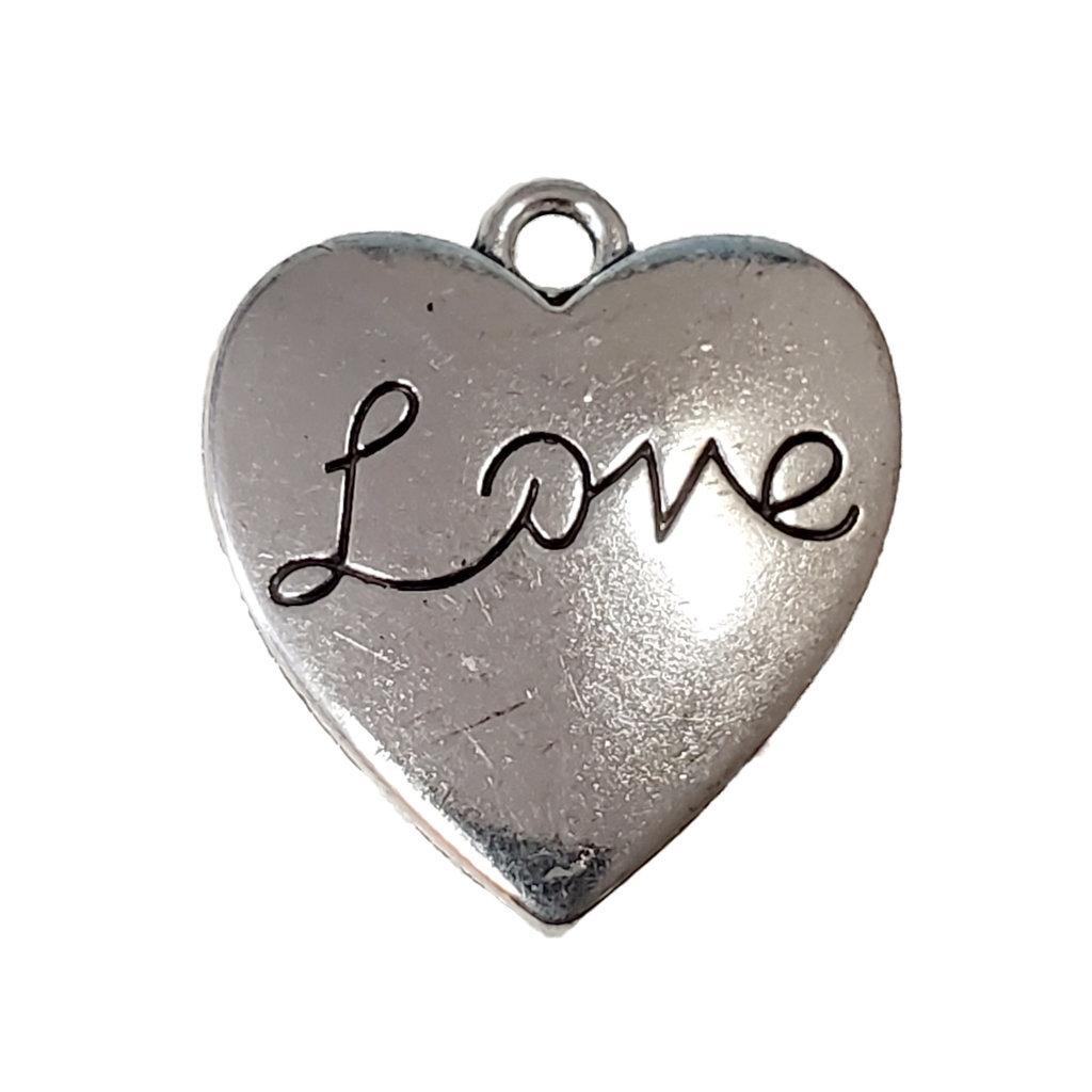 Heart Cursive Love Word Charm 18x20mm