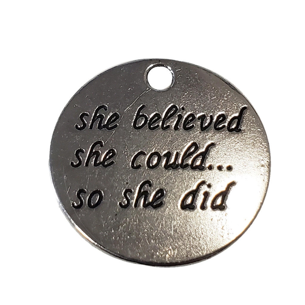Round She believed she could... so she did Charm 22mm