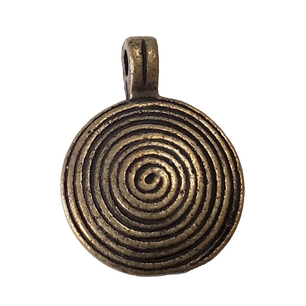Gold Round Spiral Swirl Charm 17mm