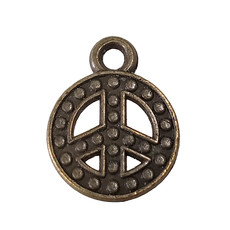 Gold Dotted Peace Symbol 13mm