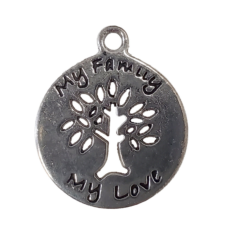My Family & My Love Word Charm with Tree 15mm