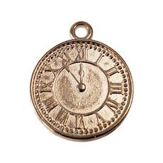 Gold Clock Charm 15mm