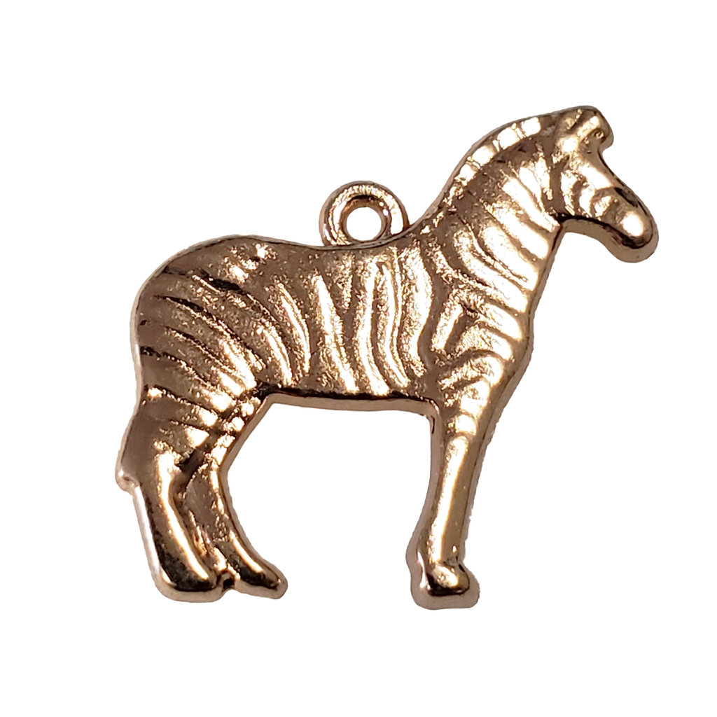 Gold Zebra Charm 19x16mm