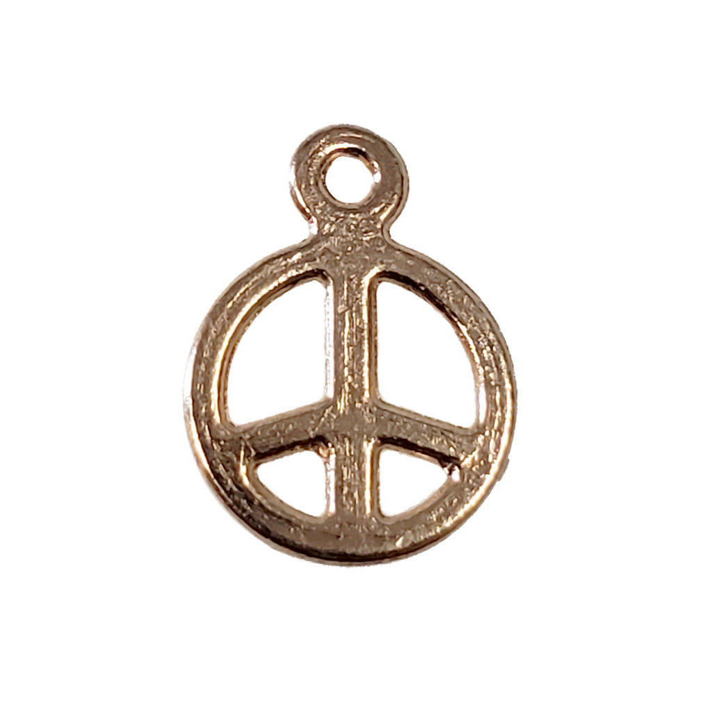 Gold Small Peace Charm 8mm