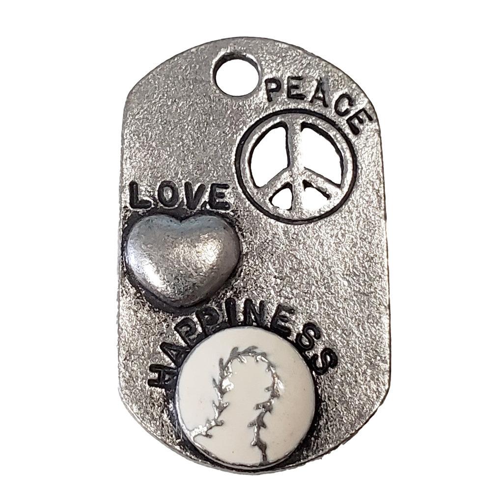 Peace Love Happiness Baseball 20x33mm