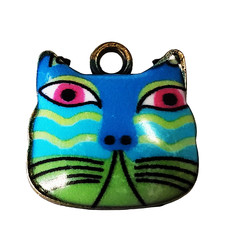 Blue and Green Cat Head Enamel Charm 17x16mm