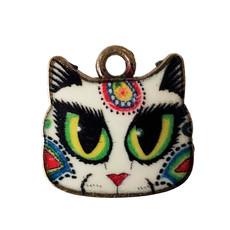 Paisley Cat Head Enamel Charm 17x17mm