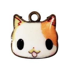 Anime Cat Head Enamel Charm 17x16mm