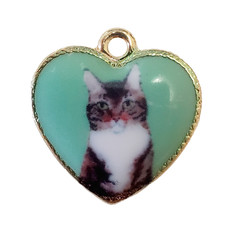 Cat in Green Heart Enamel Charm 20x20mm