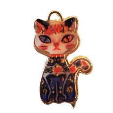 Floral Cat Enamel Charm 17x27mm