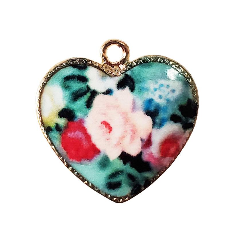 Floral Heart Enamel Charm 20x20mm