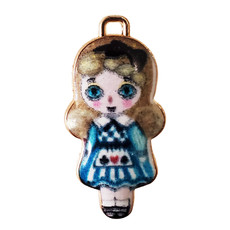 Alice in Wonderland Doll Enamel Charm 14x29mm