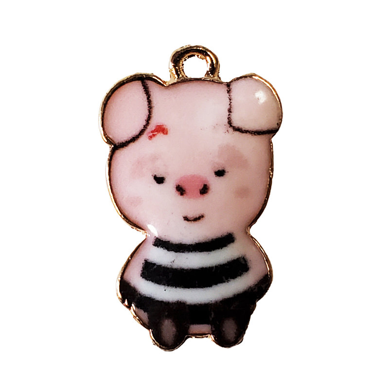 Pig in a Black and White Striped Shirt Enamel Charm 14x24mm