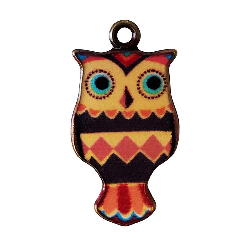 Owl Enamel Charm 12x23mm