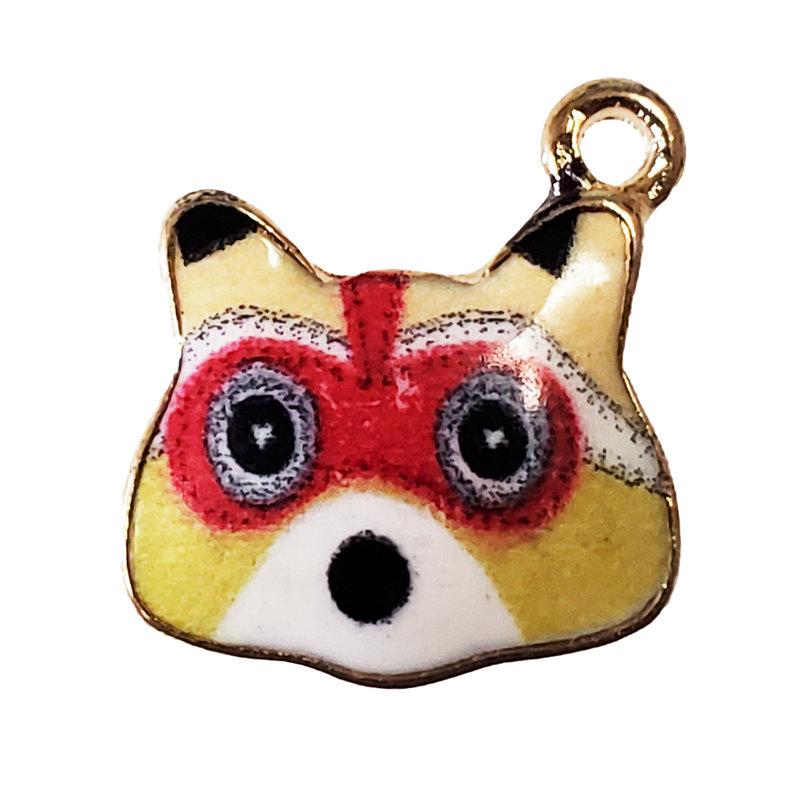 Yellow Raccoon Enamel Charm 16x16mm