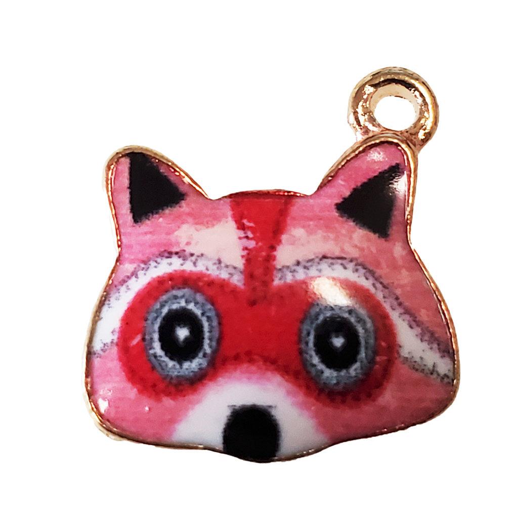 Red Raccoon Enamel Charm 16x16mm