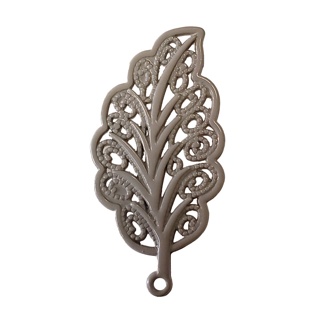 Decorated Leaf - Beige Colored Charm 18x34mm