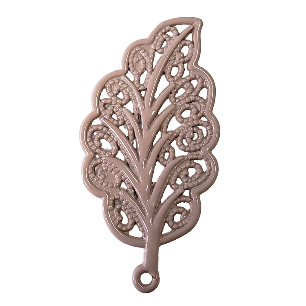 Decorated Leaf - Tan  Colored Charm 18x34mm