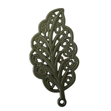 Decorated Leaf - Olive Colored Charm 18x34mm