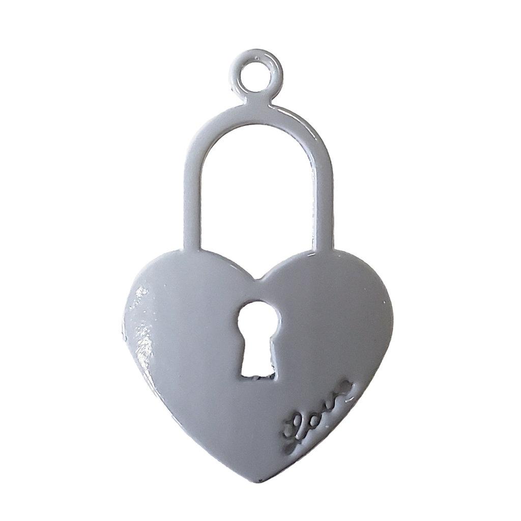 Heart Lock - Grey Colored Charm 17x27mm