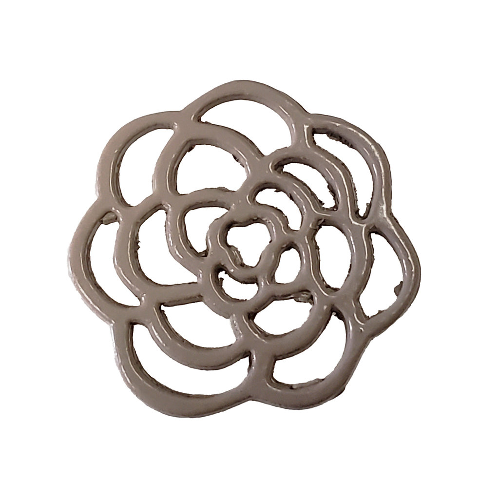 Hollow Flower - Beige Colored Charm 16mm