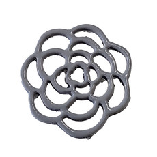 Hollow Flower - Grey Colored Charm 16mm