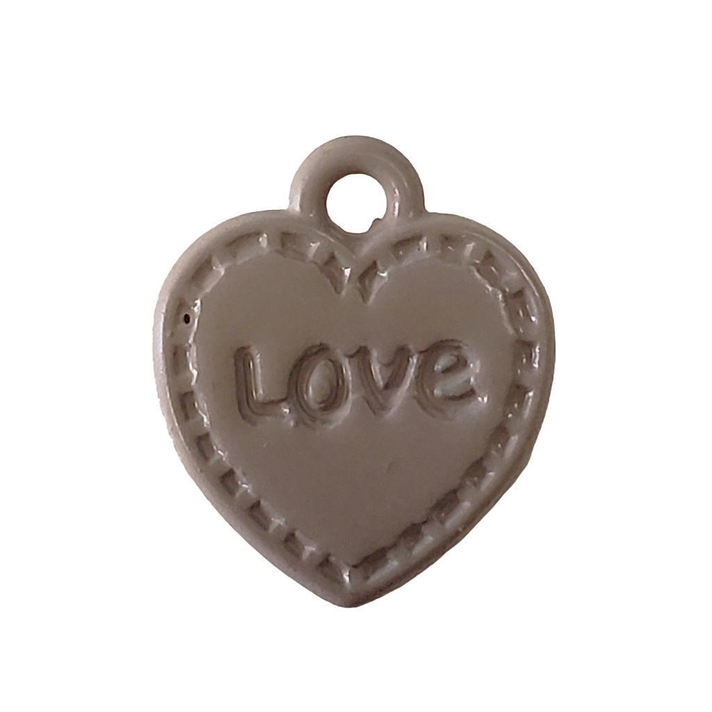 Heart Love - Beige Colored Charm 11mm