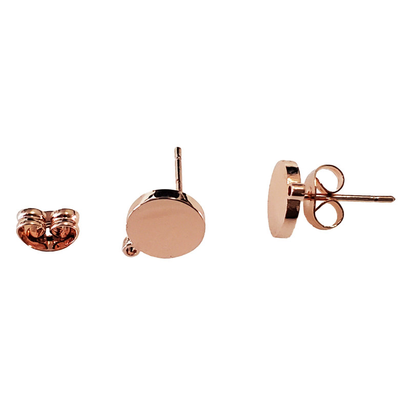 Stainless Steel Round Stud Earring with Backing