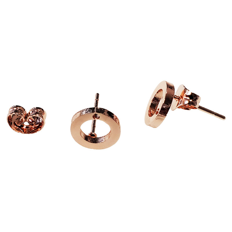 Stainless Steel Hollow Round Stud Earring with Backing