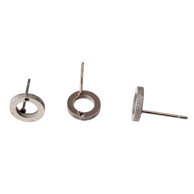 Stainless Steel Hollow Round Stud Earring