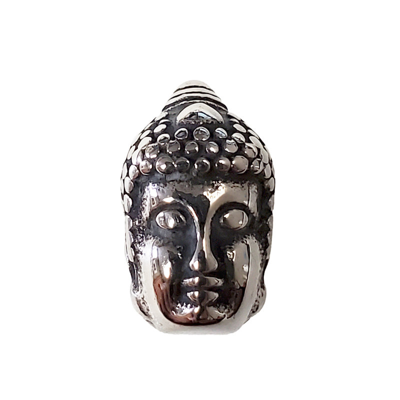 Stainless Steel Double Face Buddha Charm 13x14mm 3pcs