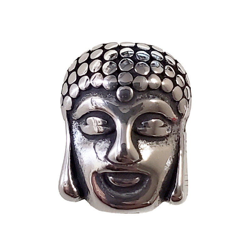 Stainless Steel Two-Sided Buddha Face Charm 10x12mm 3pcs