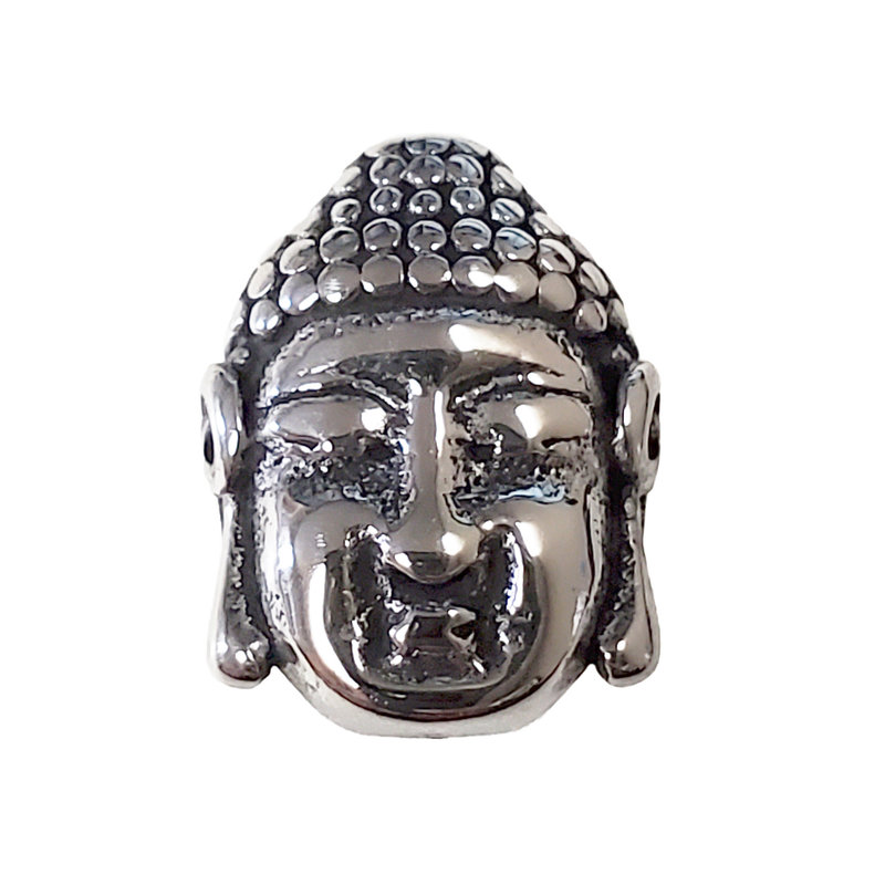 Stainless Steel Buddha Face Charm 14x17mm 3pcs