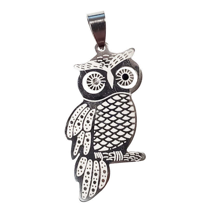Surgical Steel Owl Pendant 21x41mm