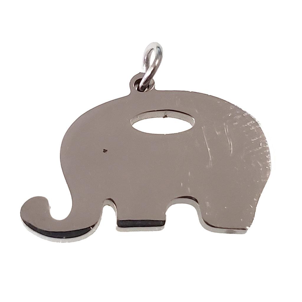 Bead World Plain Elephant Stainless Steel 19x13mm