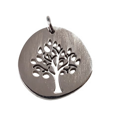 Bead World Etched Tree of Life  Stainless Steel  15mm