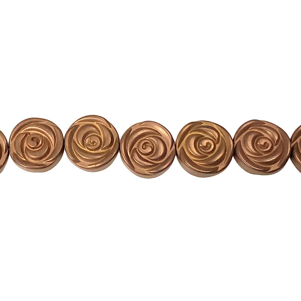 """Flat Flower Hematite Beads 12mm 16"""" Strand"""