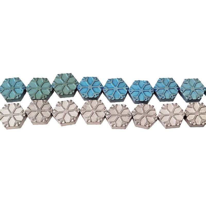 """Hexagon Snow Hematite Beads 8mm 16"""" Strand"""
