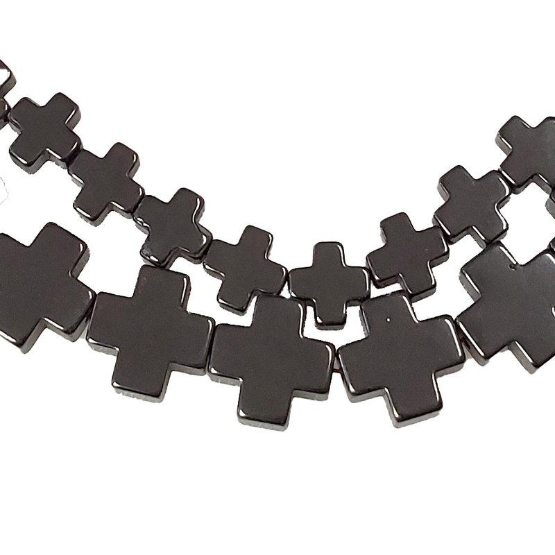 """Cross Hematite Beads 16"""" Strand"""