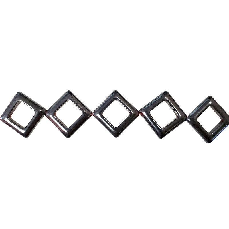 "Hollow Diamond Hematite Beads 18x18mm 16"" Strand"