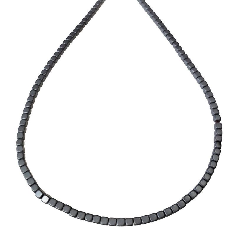 """Matte Cube Hematite Beads 4mm 16"""" Strand"""