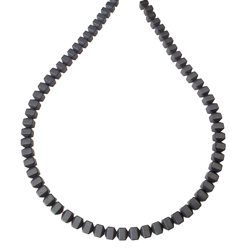 """Matte Faceted Cube Hematite Beads 6mm 16"""" Strand"""