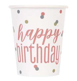 Glitz Rose Gold Happy Birthday 9oz Cups